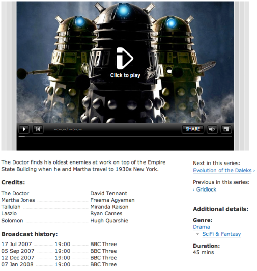 BBC Programmes - credits