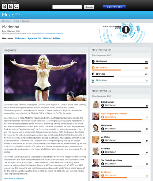 Madonna's artist page on the BBC's new beta music site