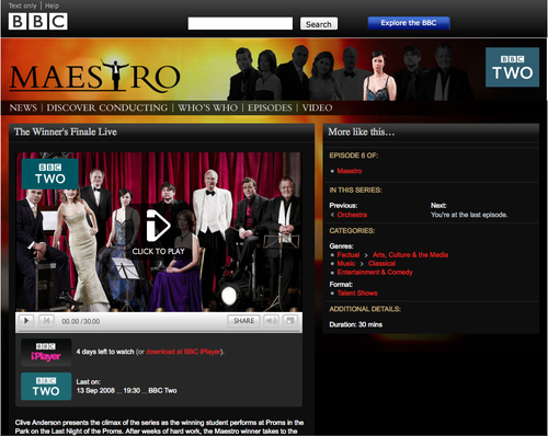 An episode page for Maestro