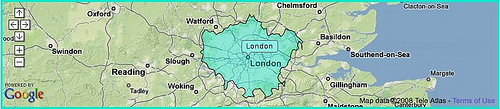 Google map of London with Flickr shape data overlaid by Matt Biddulph. Used under license.